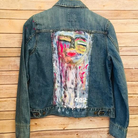 Old Navy Jackets Coats Hand Painted Denim Jacket Womens L